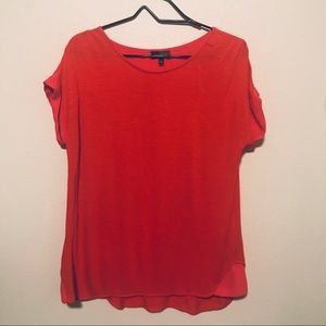 The Limited Red Short Sleeve Top Sheer Back